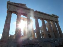 Sun setting behind the Parthenon